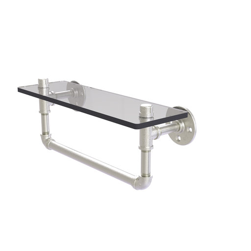 "View a Larger Image of  16"" Glass Shelf with Towel Bar, Satin Nickel Finish"