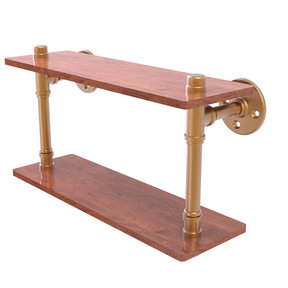 "16"" Ironwood Double Shelf, Brushed Bronze Finish"