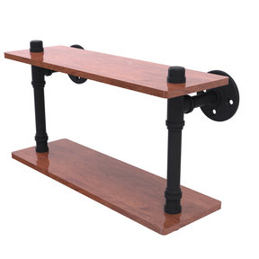 "16"" Ironwood Double Shelf, Matt Black Finish"