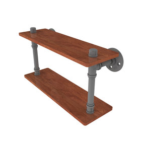 "16"" Ironwood Double Shelf, Matt Gray Finish"