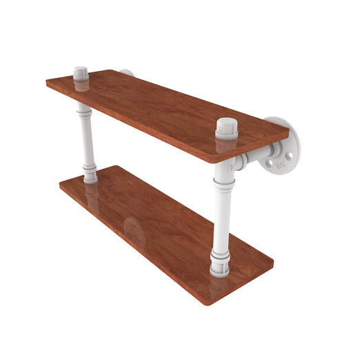 "View a Larger Image of  16"" Ironwood Double Shelf, Matt White Finish"