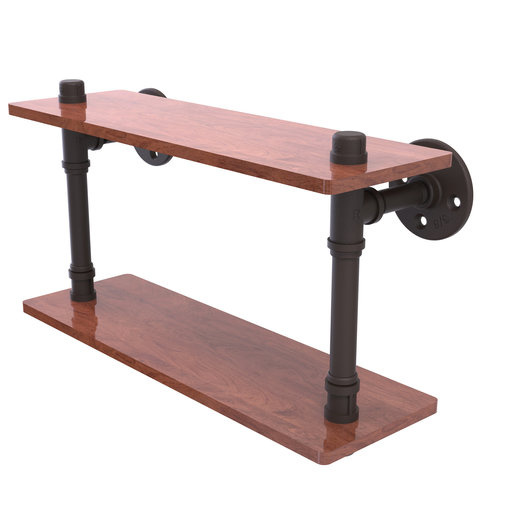 "View a Larger Image of  16"" Ironwood Double Shelf, Oil Rubbed Bronze Finish"
