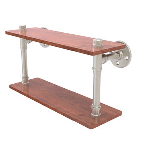 "16"" Ironwood Double Shelf, Satin Nickel Finish"