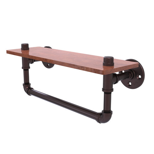 "View a Larger Image of  16"" Ironwood Shelf with Towel Bar, Antique Bronze Finish"