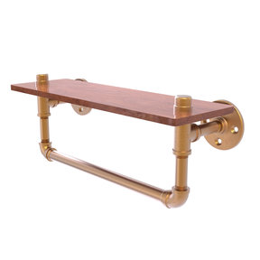 "16"" Ironwood Shelf with Towel Bar, Brushed Bronze Finish"