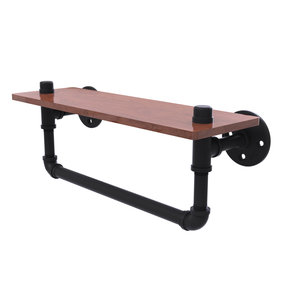 "16"" Ironwood Shelf with Towel Bar, Matt Black Finish"