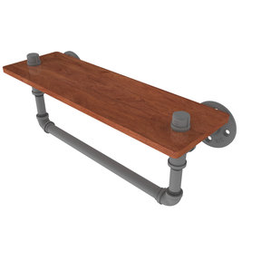 "16"" Ironwood Shelf with Towel Bar, Matt Gray Finish"