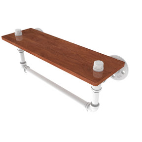 "16"" Ironwood Shelf with Towel Bar, Matt White Finish"