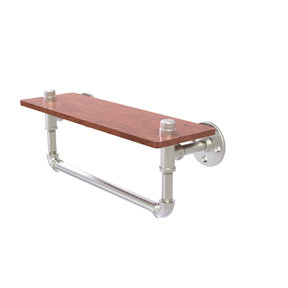 "16"" Ironwood Shelf with Towel Bar, Satin Nickel Finish"