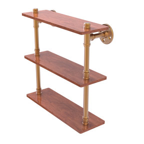 "16"" Ironwood Triple Shelf, Brushed Bronze Finish"