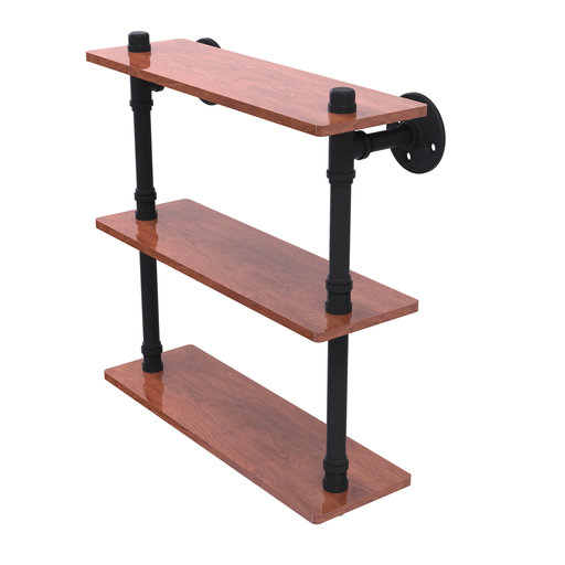 "View a Larger Image of  16"" Ironwood Triple Shelf, Matt Black Finish"
