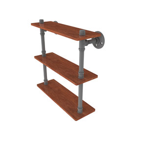 "16"" Ironwood Triple Shelf, Matt Gray Finish"