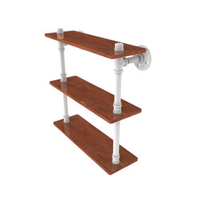 "16"" Ironwood Triple Shelf, Matt White Finish"