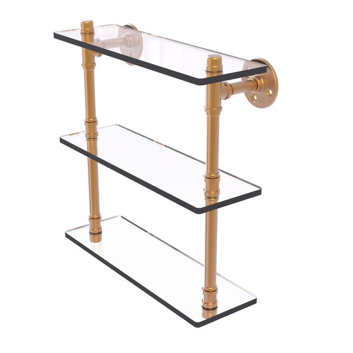 "View a Larger Image of  16"" Triple Glass Shelf, Brushed Bronze Finish"