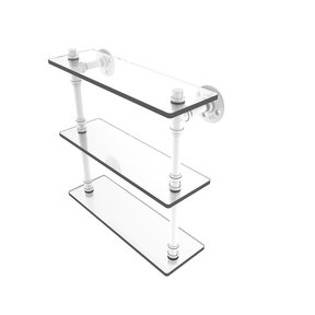 "16"" Triple Glass Shelf, Matt White Finish"
