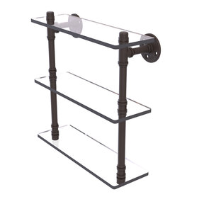 "16"" Triple Glass Shelf, Oil Rubbed Bronze Finish"