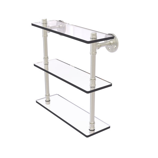 "View a Larger Image of  16"" Triple Glass Shelf, Satin Nickel Finish"