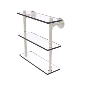 "16"" Triple Glass Shelf, Satin Nickel Finish"