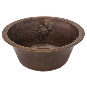 "16"" Round Copper Prep Sink w/ Grapes and 3.5"" Drain Size"