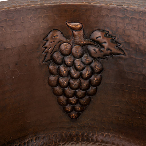 "View a Larger Image of 16"" Round Copper Prep Sink w/ Grapes and 3.5"" Drain Size"