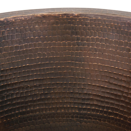 "View a Larger Image of 16"" Round Hammered Copper Prep Sink w/ 3.5"" Drain Size"