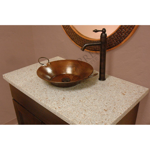 """View a Larger Image of 16"""" Round Miners Pan Vessel Hammered Copper Sink"""
