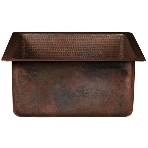 "View a Larger Image of 16"" Square Hammered Copper Bar/Prep Sink with 3.5"" Drain Opening"