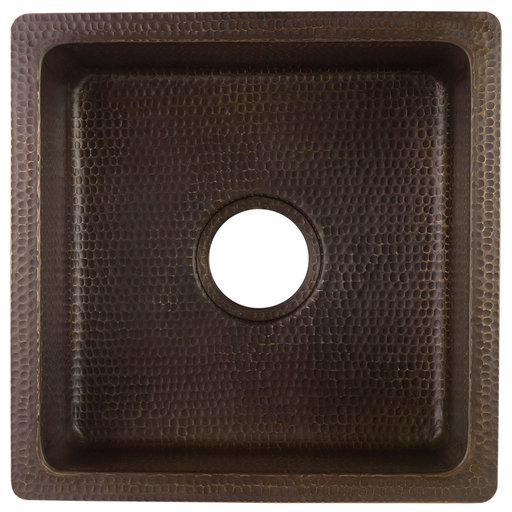 """View a Larger Image of 16"""" Square Hammered Copper Bar/Prep Sink with 3.5"""" Drain Opening"""