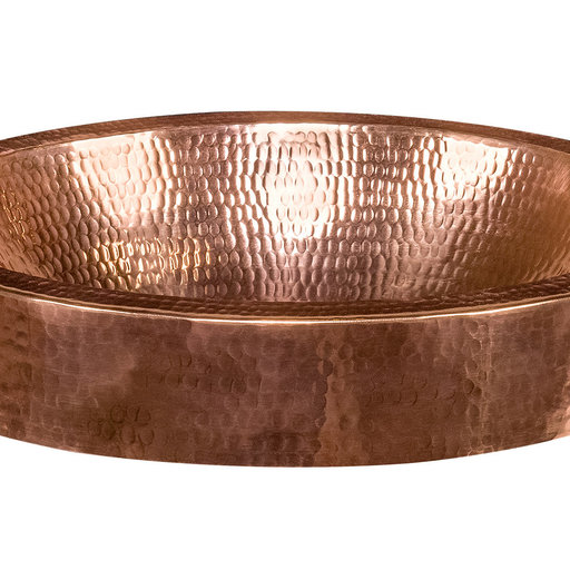 """View a Larger Image of 17"""" Compact Oval Skirted Vessel Hammered Copper Sink in Polished Copper"""