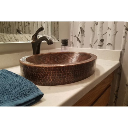 """View a Larger Image of 17"""" Compact Oval Skirted Vessel Hammered Copper Sink"""