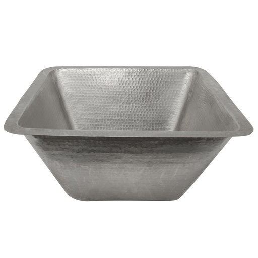 """View a Larger Image of 17"""" Large Square Hammered Copper Bar/Prep Sink in Nickel"""