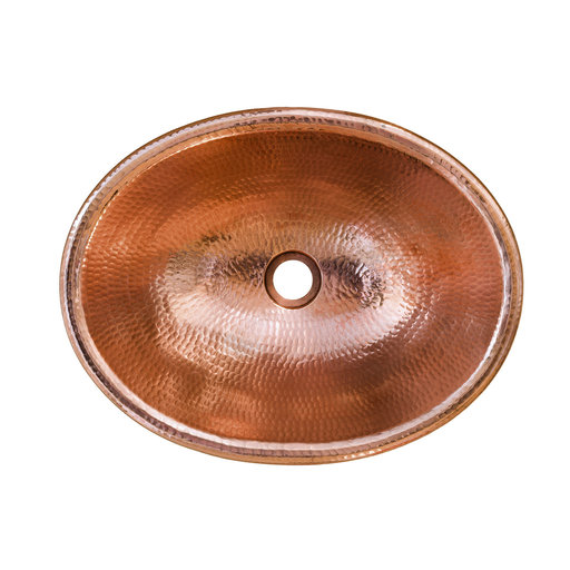 "View a Larger Image of 17"" Oval Self Rimming Hammered Copper Bathroom Sink in Polished Copper"