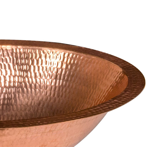 "View a Larger Image of 17"" Oval Under Counter Hammered Copper Bathroom Sink in Polished Copper"