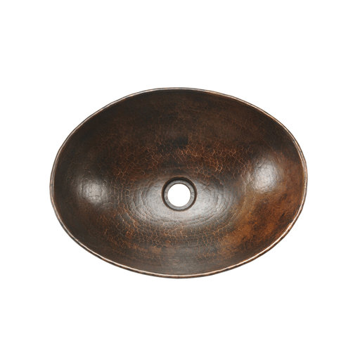 "View a Larger Image of 17"" Oval Wired Rim Vessel Hammered Copper Sink"