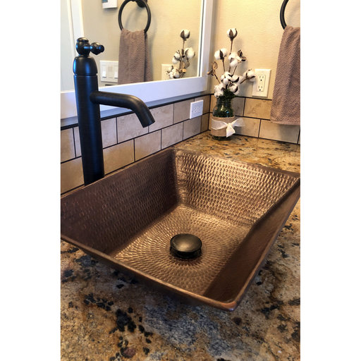 "View a Larger Image of 17"" Rectangle Wired Rim Vessel Hammered Copper Sink"