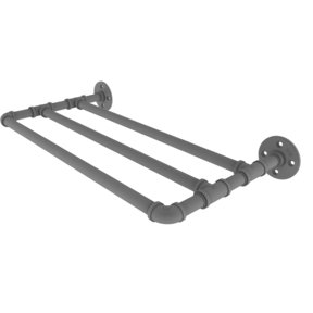 "18"" Wall Mounted Towel Shelf, Matt Gray Finish"