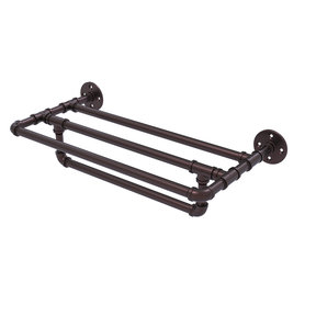 "18"" Wall Mounted Towel Shelf with Towel Bar, Antique Bronze Finish"