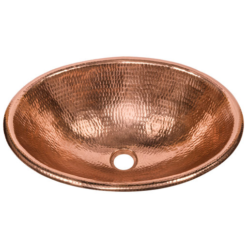 "View a Larger Image of 19"" Oval Self Rimming Hammered Copper Bathroom Sink in Polished Copper"