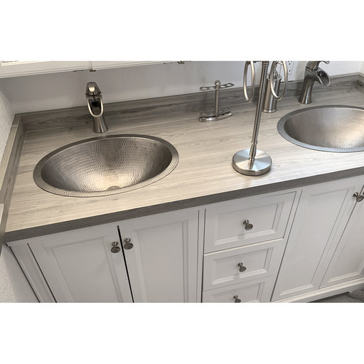 "View a Larger Image of 19"" Oval Under Counter Hammered Copper Bathroom Sink in Nickel"