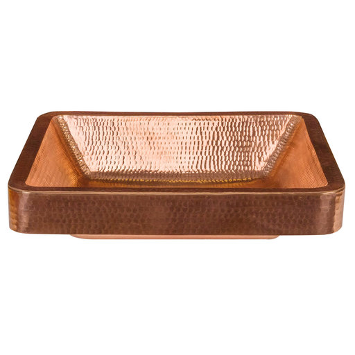 "View a Larger Image of 19"" Rectangle Skirted Vessel Hammered Copper Sink in Polished Copper"