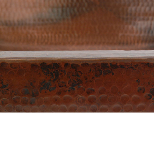 """View a Larger Image of 19"""" Rectangle Skirted Vessel Hammered Copper Sink"""