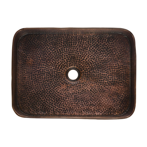 "View a Larger Image of 19"" Rectangle Tub Hand Forged Old World Copper Vessel Sink"