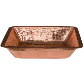 "19"" Rectangle Under Counter Hammered Copper Bathroom Sink in Polished Copper"
