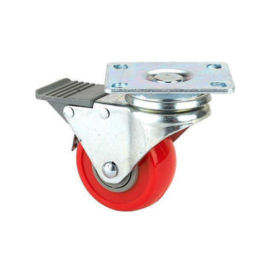 """View a Larger Image of 2-1/2"""" Caster, Double Lock, Swivel Plate with 4-hole Mounting, 3-3/8"""" Tall"""