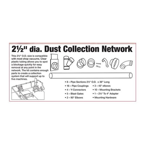 "View a Larger Image of 2-1/2"" Clear Dust Collection Network"