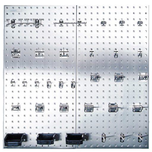View a Larger Image of (2) 18 In. W x 36 In. H x 1/2 In. D 304 Stainless Steel Square Hole Pegboards with 32 pc. Stainless LocHook Assortment &