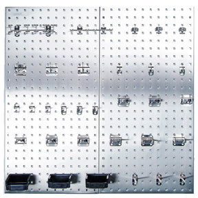(2) 18 In. W x 36 In. H x 1/2 In. D 304 Stainless Steel Square Hole Pegboards with 32 pc. Stainless LocHook Assortment &