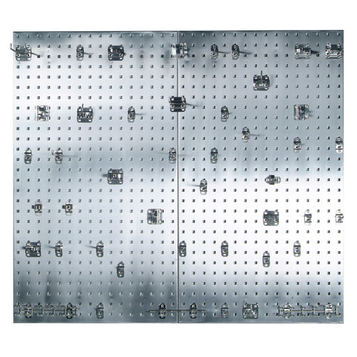 View a Larger Image of (2) 24 In. W x 42-1/2 In. H x 9/16 In. D 304 Stainless Steel Square Hole Pegboards with 45 pc. Stainless LocHook Assortm