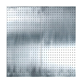 (2) 24 In. W x 42-1/2 In. H x 9/16 In. D Stainless Steel  Square Hole Pegboards