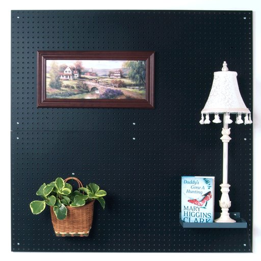 View a Larger Image of (2) 24 In. W x 48 In. H x 1/4 In. D Custom Painted Jet Black Heavy Duty Tempered Round Hole Pegboards